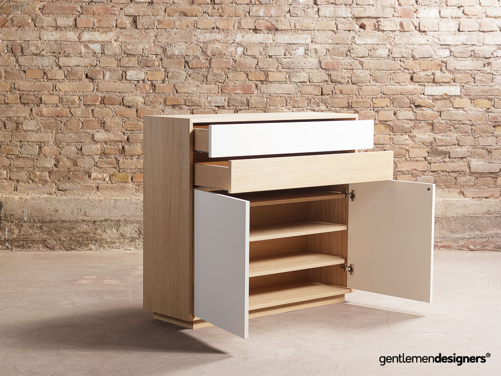 buffet meuble a chaussures meuble d entree en chene massif 2 tiroirs 2 portes battantes