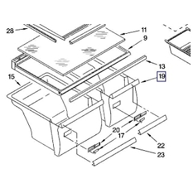W10856580 Whirlpool Refrigerator Crisper RIGHT SIDE