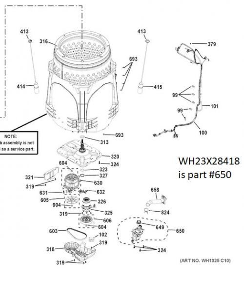 WH23X28418 GE Washer Drain Pump Assembly