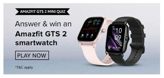 Amazon Amazfit GTS 2 Mini Quiz Answers – Win Amazfit Smartwatch