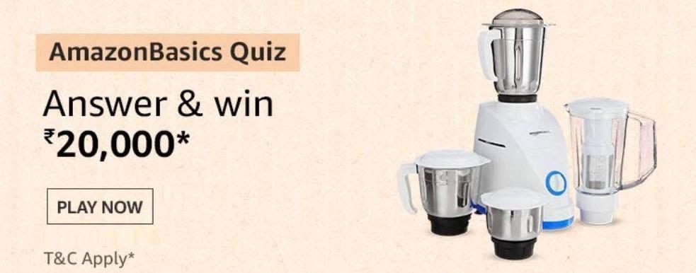 AmazonBasics Quiz Answers – Win Rs. 20000