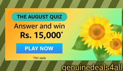 Amazon The August Quiz Answer – Win Rs. 15000