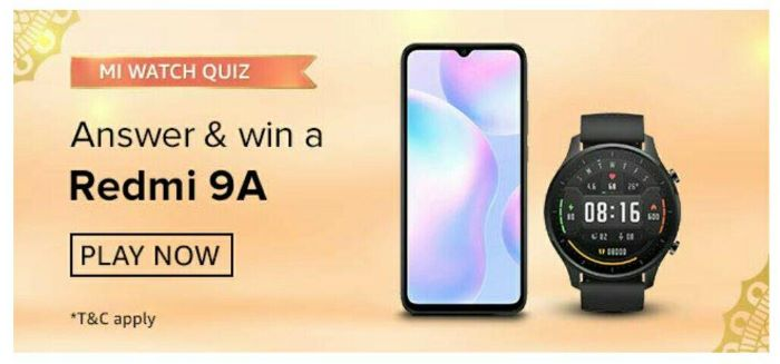 Amazon Mi Watch Quiz Answers – Win Redmi 9A