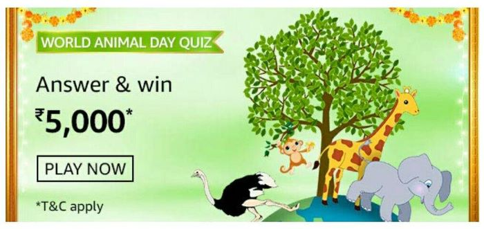 Amazon World Animal Day Quiz Answers – Win Rs.5,000 Paybalance