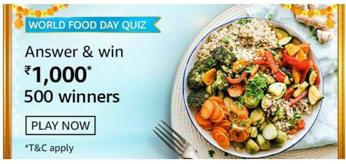 Amazon World Food Day Quiz Answers – Win Rs. 1,000 Paybalance