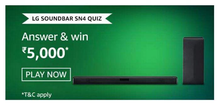 Amazon LG Soundbar SN4 Quiz Answers – Win Rs.5,000 Paybalance
