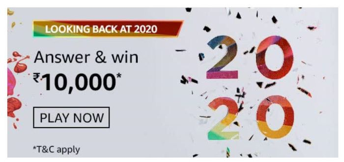 Amazon Looking Back At 2020 Quiz Answers – Win Rs.10,000 Paybalance