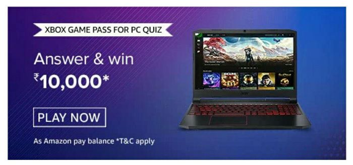 Amazon Xbox Game Pass For PC Quiz Answers – Win Rs.10,000