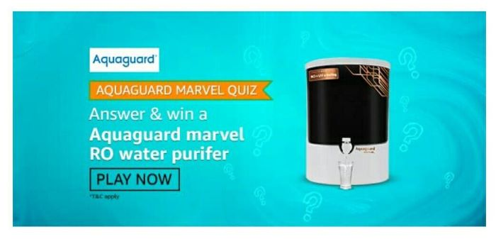 Amazon Aquaguard Marvel Quiz Answers – Win Ro Water Purifier