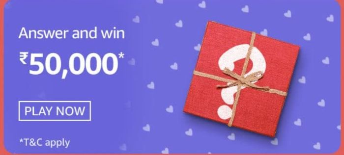 Amazon Valentines Carnival Chocolate Day Quiz Answers – Win 50,000