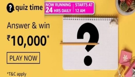Amazon Quiz Answers Today Win Rs 10000
