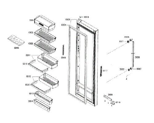 Bosch Part# 00673020 Door Shelf (OEM) Middle