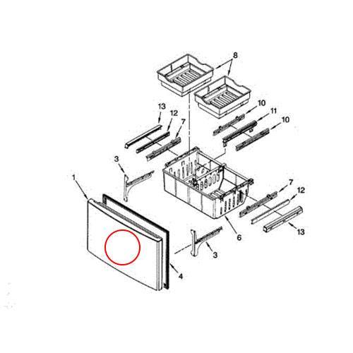 Whirlpool Part# 12977842SQ Fip Door (OEM) Ss