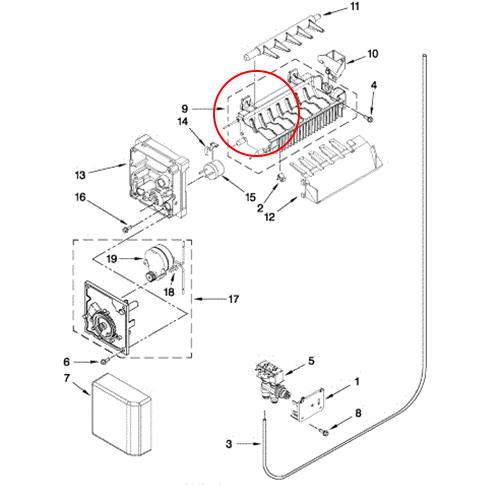 Whirlpool Part# W10136599 Ice Mold (OEM