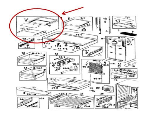 Samsung Part# DA97-06416A Quick Space Shelf Assembly (OEM)