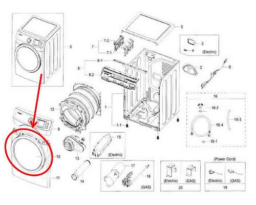 Samsung Part# DC97-15975E Door Assembly (OEM)