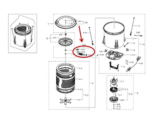 Samsung Part# DC97-17417A Inside Drain Hose Bellow (OEM)
