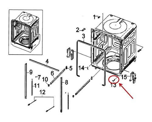 Samsung Part# DD61-00177A Tub Edge Guide (OEM) Right