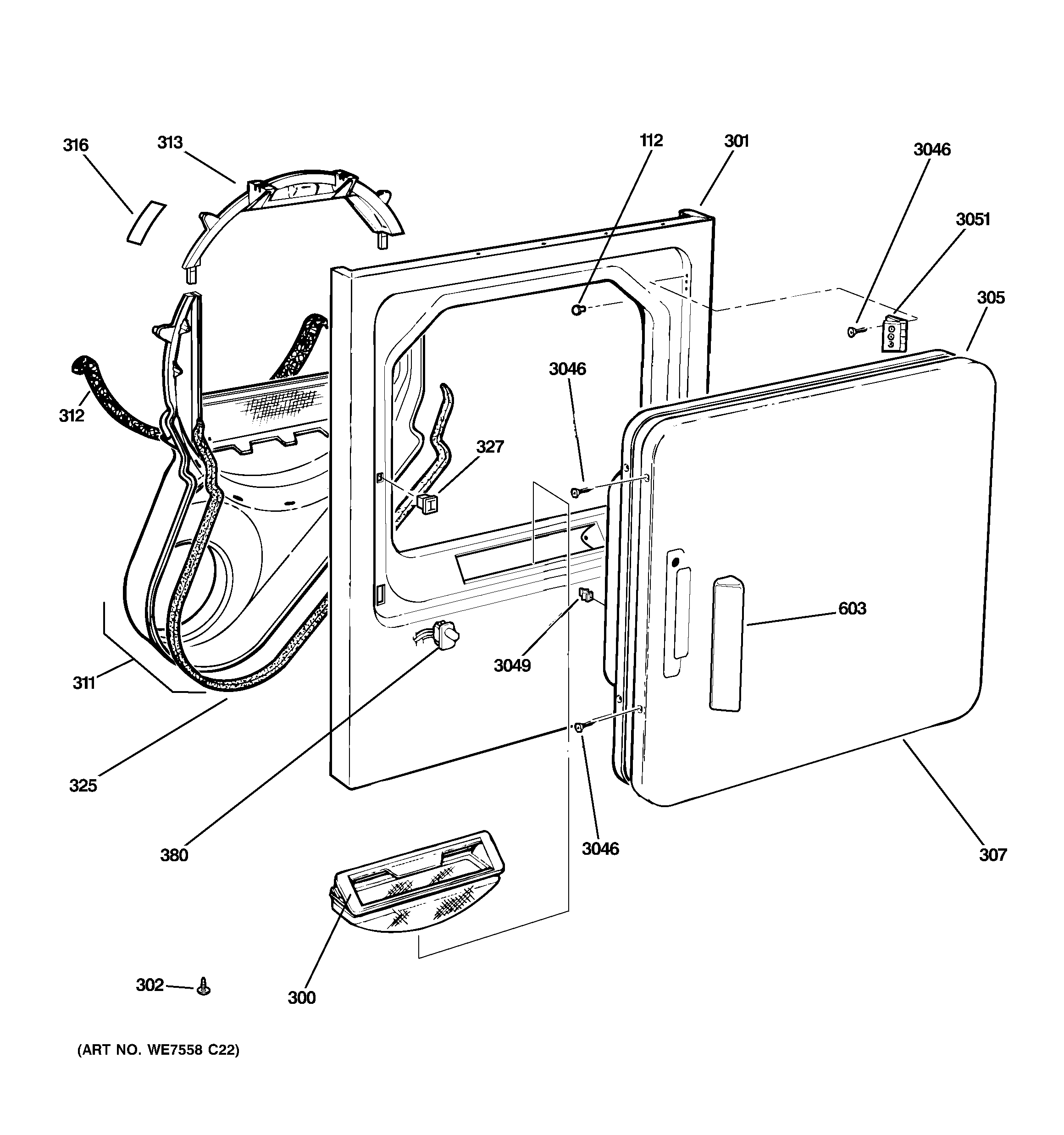 Ge Dist333jtfww Lint Trap Duct Assembly