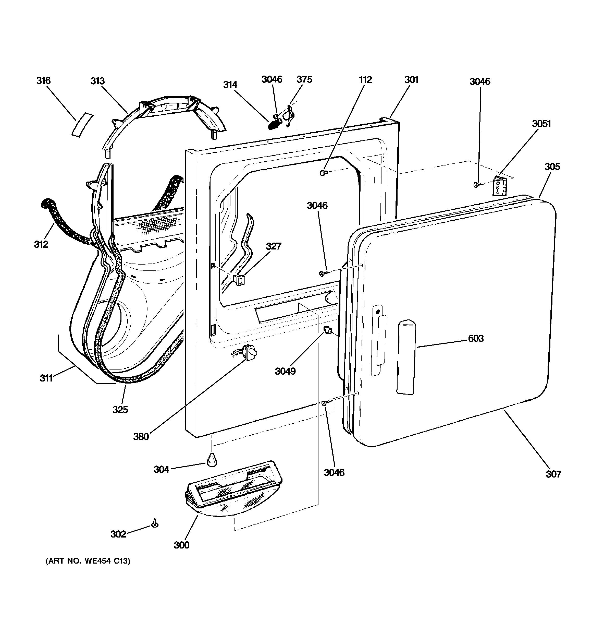 Ge Dx Gg3ww Dryer Door Hinge