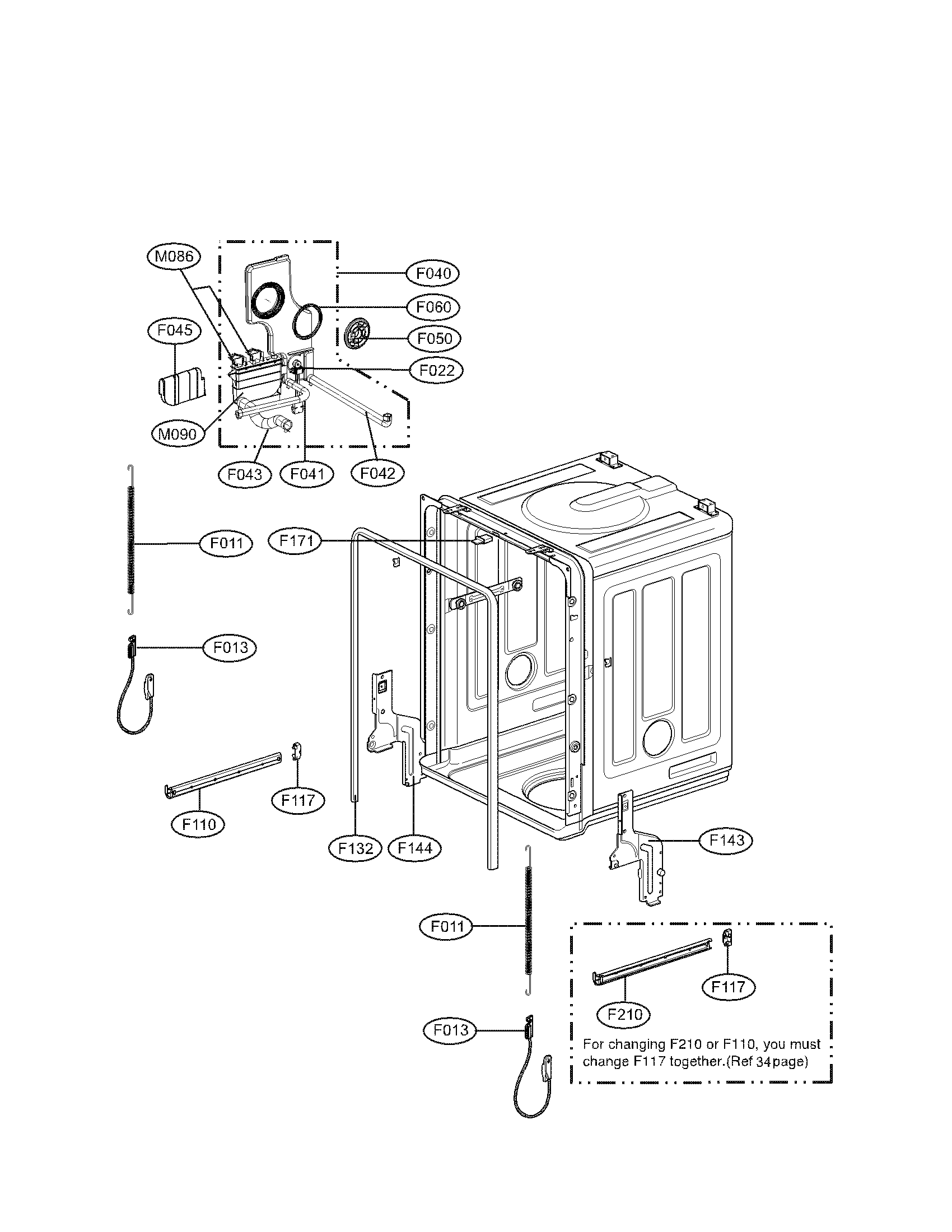 Guide Assembly for LG LDS5811WW Dishwasher