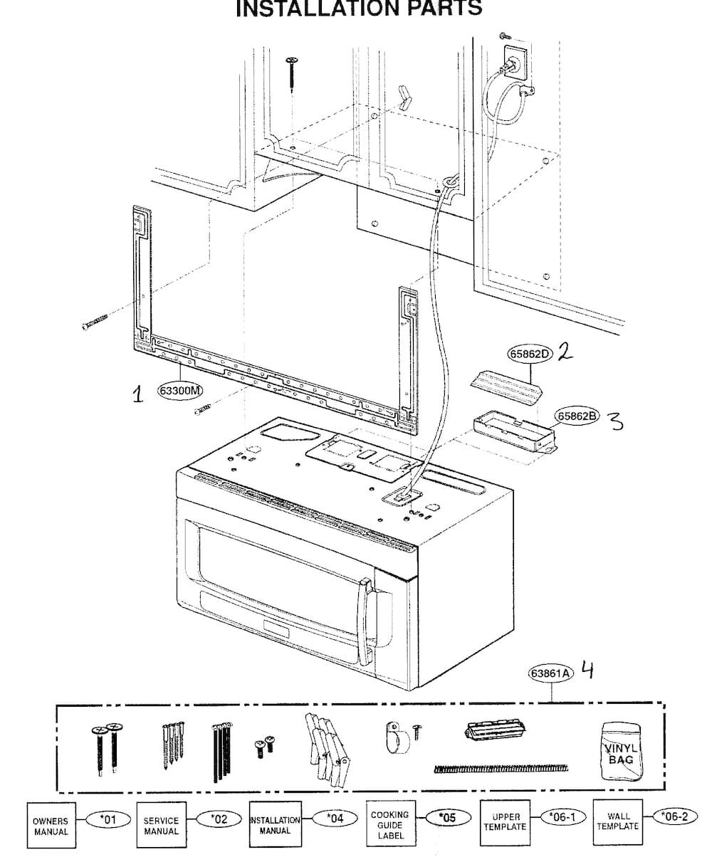 LG LMVM2055SW Microwave Installation Hardware Kit