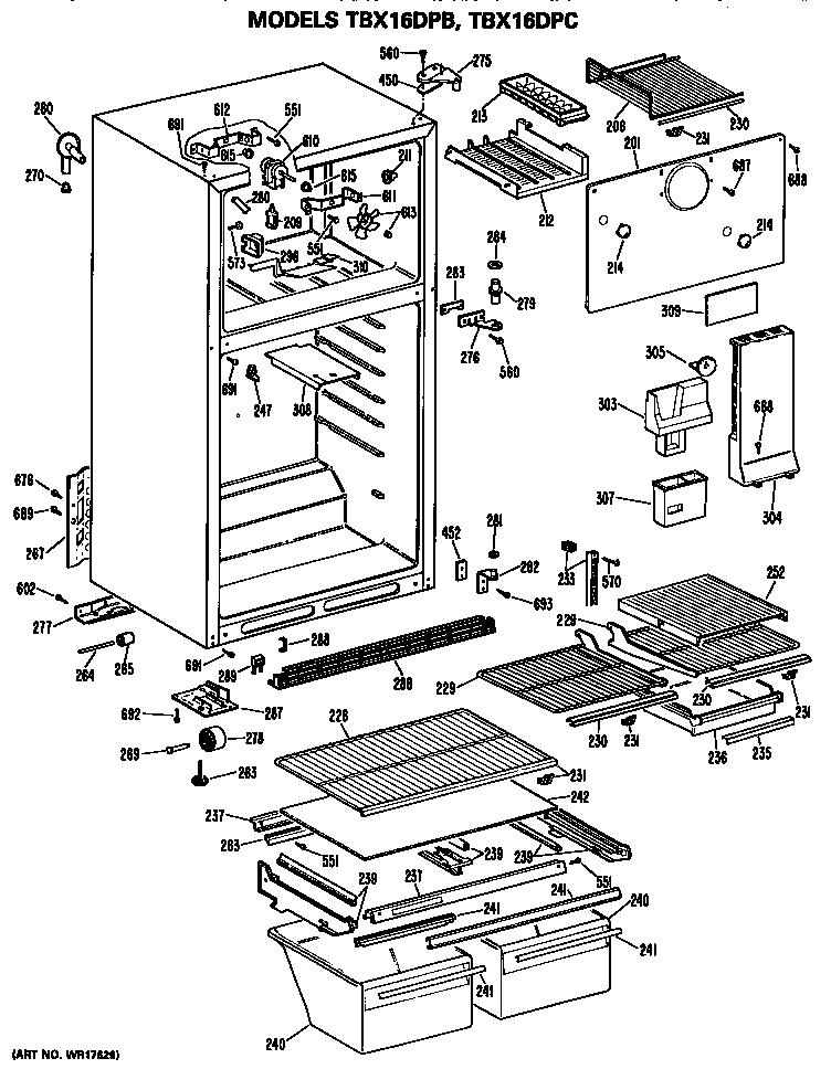GE TBX16DPCRHA Metal/Wire Shelf (approx 25 x 14in