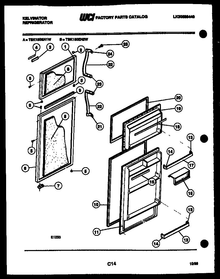 Kelvinator TSK180EN1T Refrigerator Door Gasket (almond