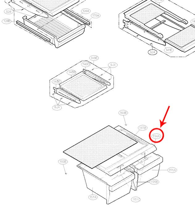 LG Part# 3551JJ1069P Refrigerator Crisper Drawer Cover (OEM)