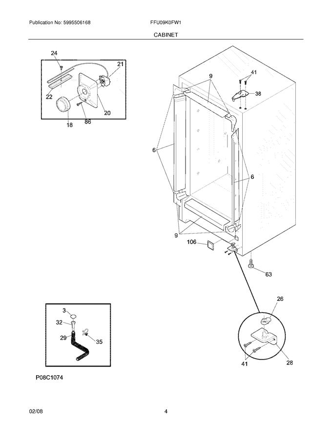 Frigidaire FFU09K0FW1 Drain Plug (interior freezer