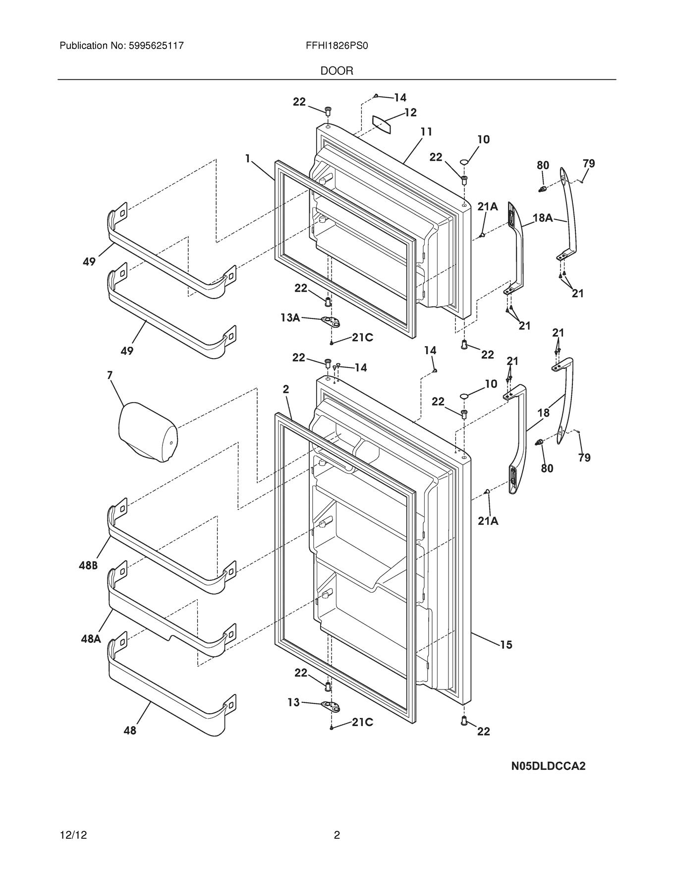 Frigidaire Ffhi Ps0 Refrigerator Door Shelf Retainer