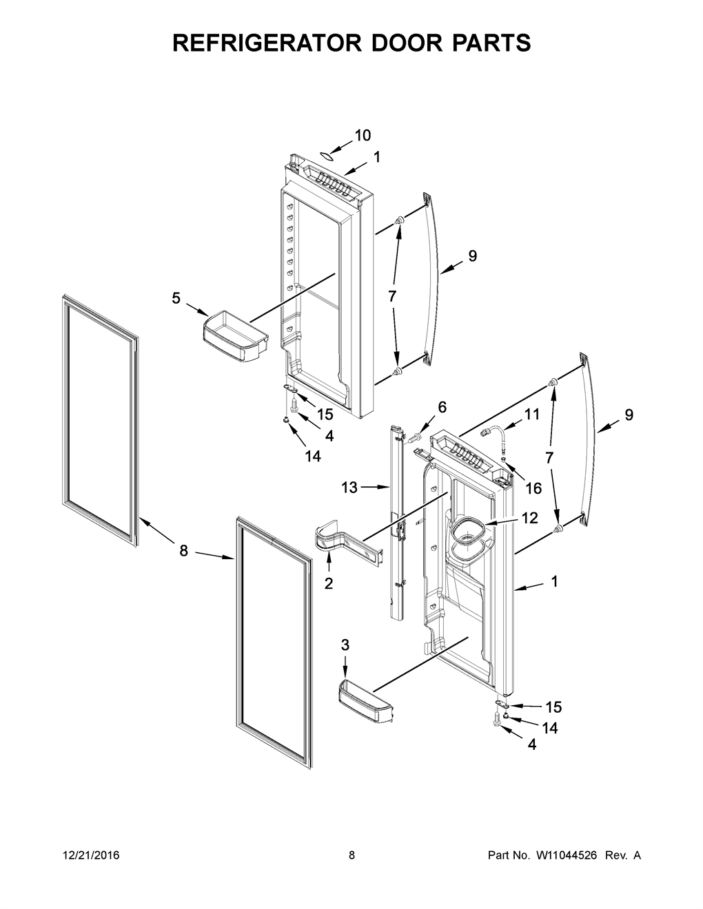 Whirlpool WRX735SDHV00 Refrigerator Door Seal-Gasket