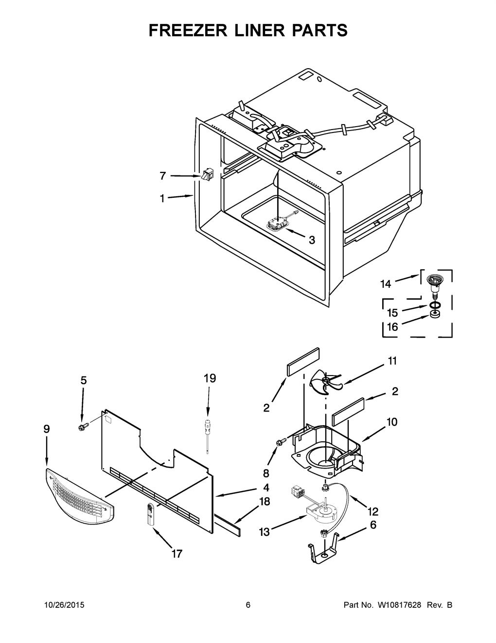 Whirlpool WRX988SIBM02 Evaporator Fan Motor Assembly