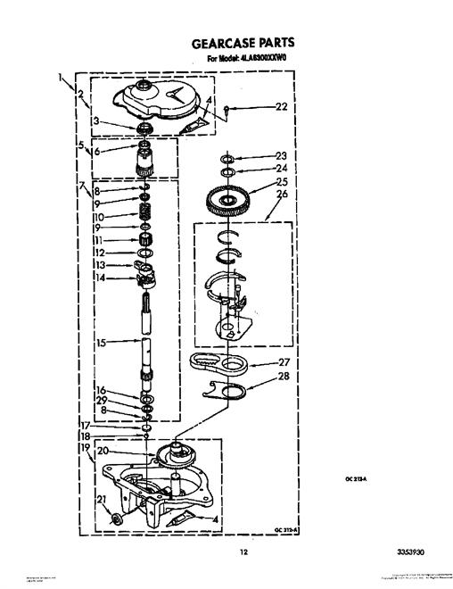Whirlpool 4LA6300XXM0 Transmission Gearcase (Neutral Drain