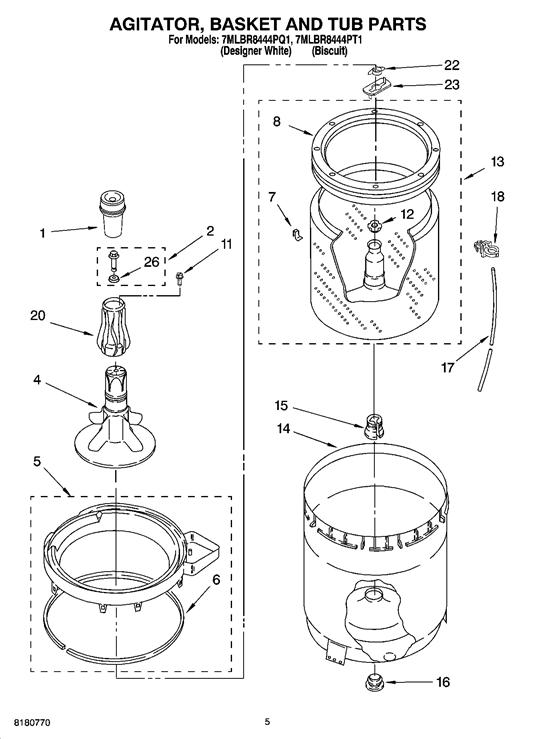 Whirlpool 7MLBR8444PT1 Liquid Fabric Softener Dispenser