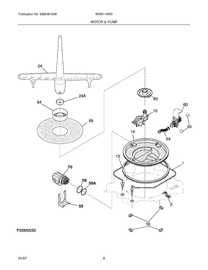 White Westinghouse WDB11NRDS2 Front Dishwasher Pump O-Ring