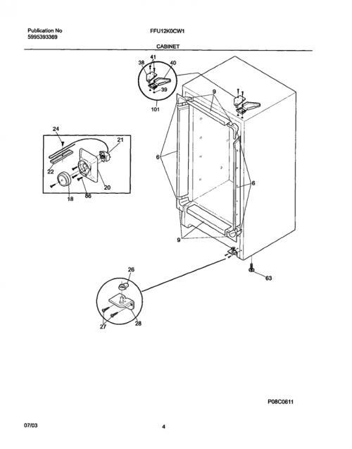 Frigidaire FFU12K0CW1 Temperature Control Thermostat