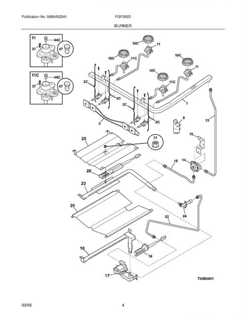 Frigidaire FGF355DWB Wiring Harness w/ Igniter Switch