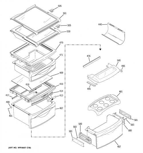 GE GSL25LGTCBS Top Refrigerator Crisper Frame/Cover
