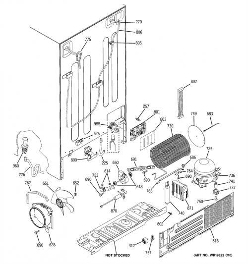 GE PJG25PGTAFKB Refrigerator Condenser Coil Assembly
