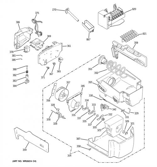 GE PSHF6RGXCDCC Ice Bucket and Auger Assembly Genuine OEM