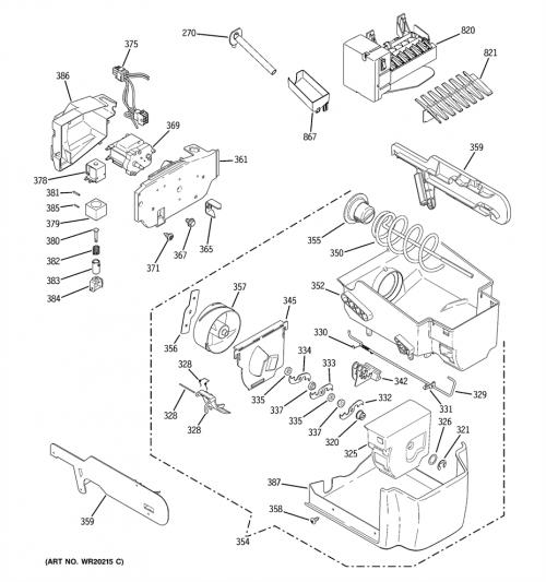 GE PSI23MGWCCV Ice Container-Bucket and Auger Assembly
