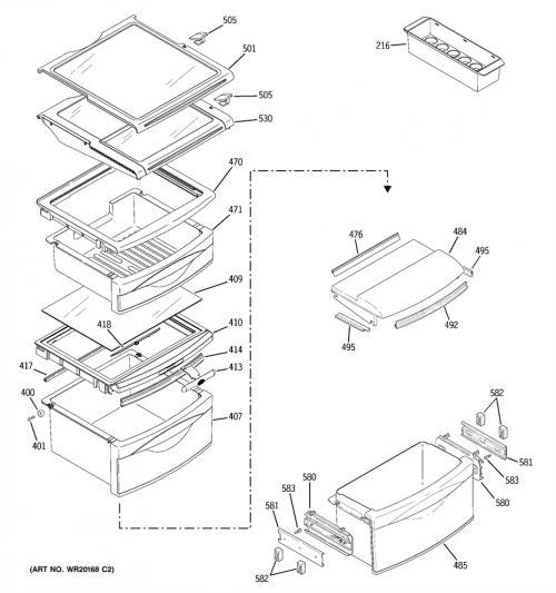 Hotpoint HSK27MGWACCC Top Refrigerator Crisper Frame/Cover