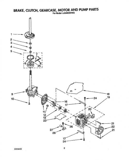 Whirlpool LA9480XWF2 Transmission Gearcase (Neutral Drain