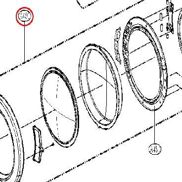 LG Part# 3581EL0002J Outer Door Assembly (OEM) Chrome