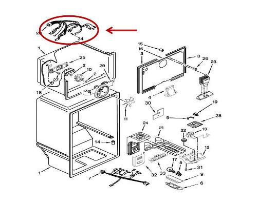 Whirlpool Part# W10339627 Wire Harness (OEM)