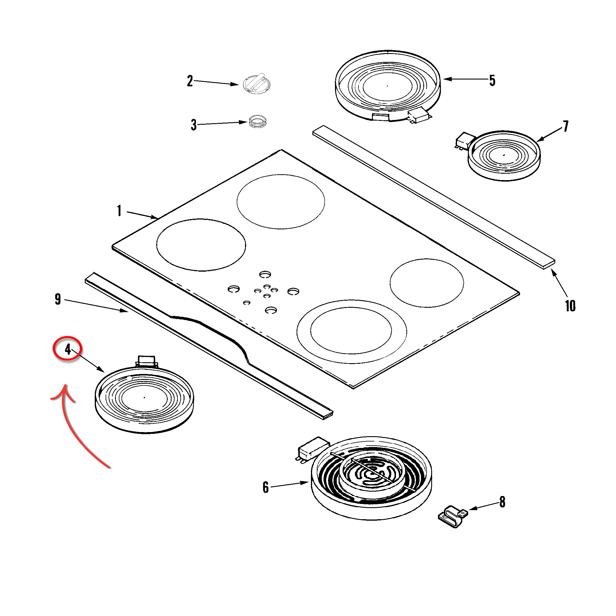 Whirlpool Part# W10823698 Surface Element (OEM)