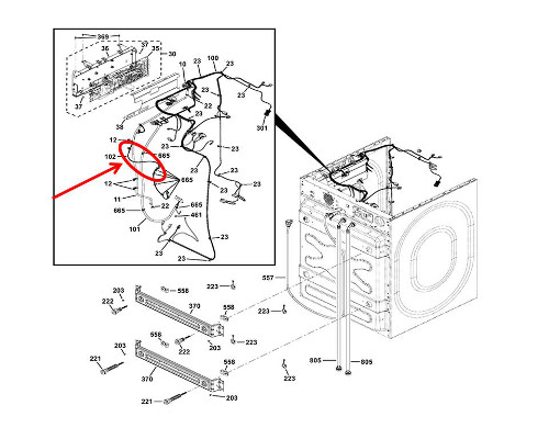 GE Part# WH19X10127 Pigtail Wiring Harness (OEM)