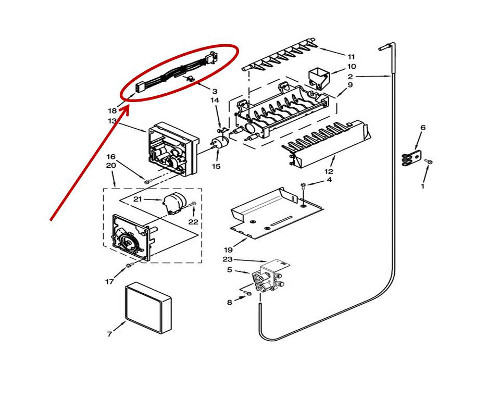 Whirlpool Part# WP2187467 Ice Maker Wiring Harness (OEM)