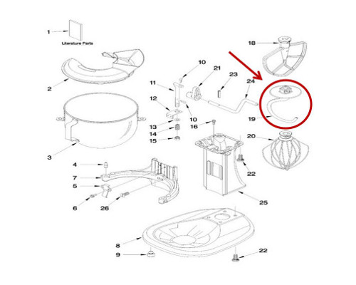 Whirlpool Part# WP3183233 Dough Hook (OEM)